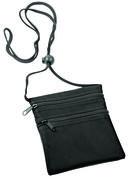 Нагрудный кошелек с 2-мя отделениями на молнии и прозрачным карманом (черный) — фото, картинка — 1