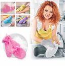 Варежка двухсторонняя для мытья посуды и уборки (розовая) — фото, картинка — 6